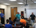 <p>On July 23, students in the Summer Advanced Manufacturing Experience (SAME) met with Patrick Skrip and Earl Delong of Sheet Metal, Air, Rail and Transportation Workers (SMART) Local Union No. 46. Patrick Skrip presented on the advantages of joining local 46, including an apprenticeship and training program. Earl Delong then taught students how to create a copper flower. </p>