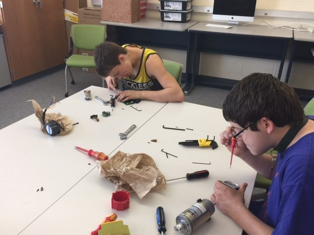 P-TECH students working on an electronics project.