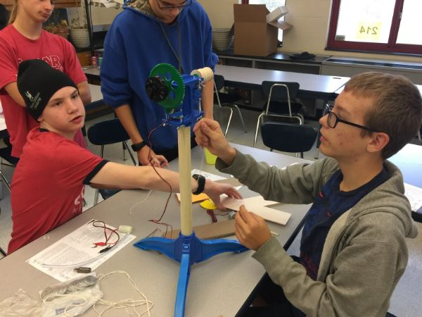 P-TECH Students working on science project.