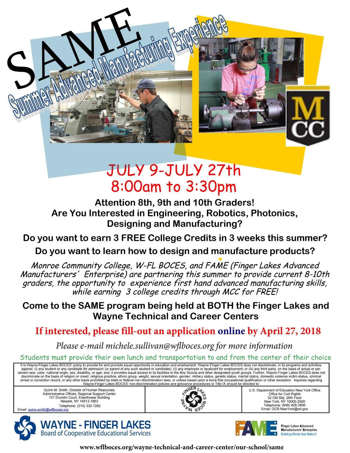 Summer Advanced Manufacturing Experience (SAME)